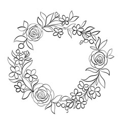 beautiful monochrome black and white floral vector image