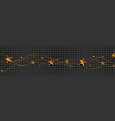 bronze wavy lines and stars on black background vector image