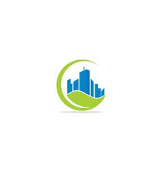 building eco green leaf environment logo vector image