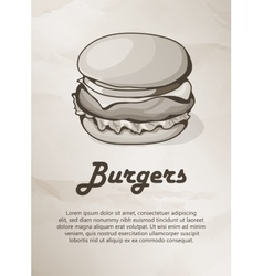 Burger Vintage Menu Label Logo Frame vector image