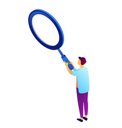 businessman holding a big magnifier isometric 3d vector image