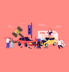 Car accident on road driver dweller characters vector