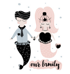 card with calligraphy lettering our family and vector image