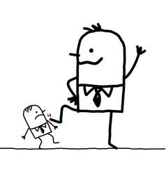 Cartoon big businessman kicking a little one vector