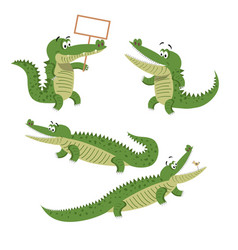 Cartoon crocodiles isolated set vector