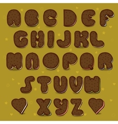 Chocolate cookies alphabet vintage style vector