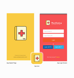 Company medical book splash screen and login page vector