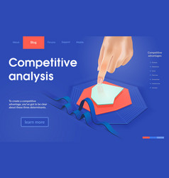 Competitive analysis isometric landing page vector