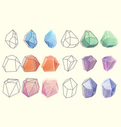 contour of gems and diamonds crystals vector image