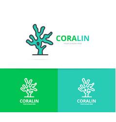 Coral logo unique reef and seafood vector