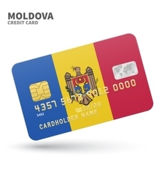 Credit card with Moldova flag background for bank vector