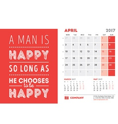 Desk Calendar Template for 2017 Year April Design vector image