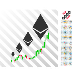 ethereum growth chart flat icon with bonus vector image
