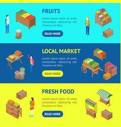 farm local market banner horizontal set 3d vector image
