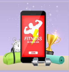 fitness app mock up concept vector image