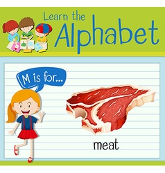 Flashcard letter M is for meat vector image