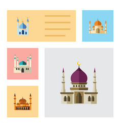 Flat icon building set of traditional structure vector