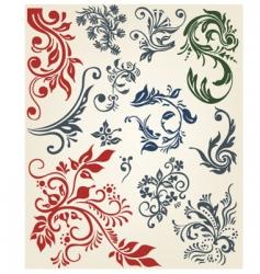 Floral decoration elements vector