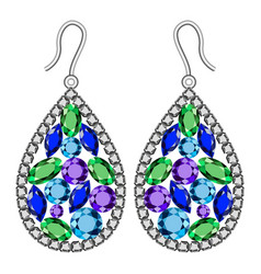 Gemstones earrings mockup realistic style vector