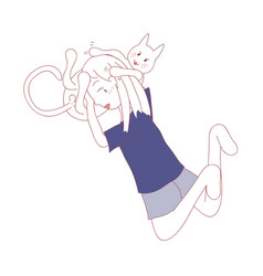 girl hug cat belly vector image