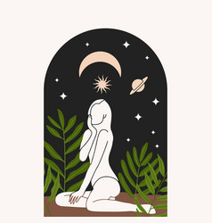 Girl near arch window moon and stars at night vector