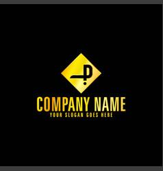 golden letter p emblem with black background vector image