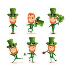 group of leprechauns saint patrick characters vector image