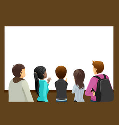 Group of people looking at blank copyspace vector
