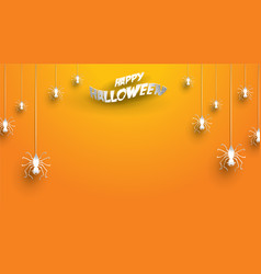 halloween background with spider in paper art vector image