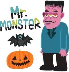 Halloween monster character with pumpkin and bat vector