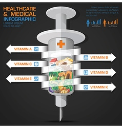 Healthcare And Medical Syringe Of Vitamin With vector image