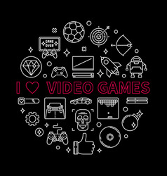 i love video games concept round outline vector image