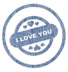 I love you stamp seal rounded fabric textured icon vector
