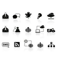 Internet social communications icon set vector image
