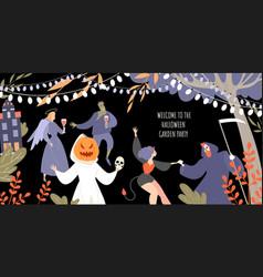 invitation banner for halloween garden party vector image