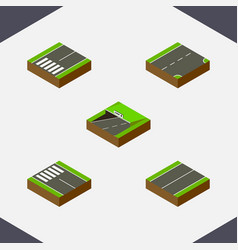 Isometric way set of footpassenger down subway vector