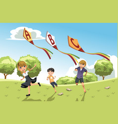 kids with alphabet kites vector image
