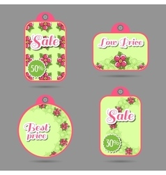 Labels design pink flowers vector