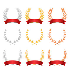 Laurel wreath trophy set award placement vector