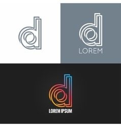 letter D logo alphabet design icon set background vector image