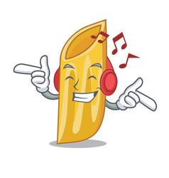 Listening music penne pasta character cartoon vector