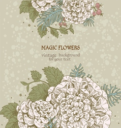 Magic flowers dream vintage background vector image