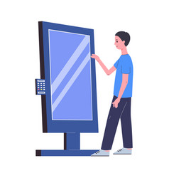 Man using interactive kiosk stand with display vector
