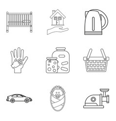 Matrimony icons set outline style vector