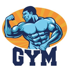 Muscle bodybuilder suitable for gym mascot vector