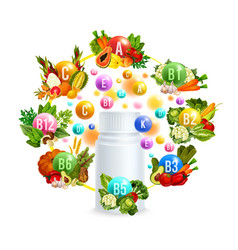 Natural vitamin with healthy food poster design vector