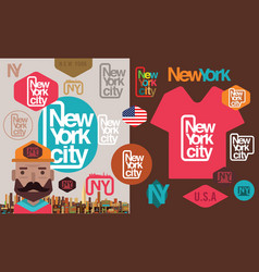 new yorklos angeleslas vegaschicagohuston sticker vector image