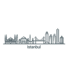 outline istanbul banner vector image