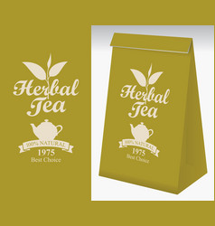 paper packaging with label for herbal tea vector image