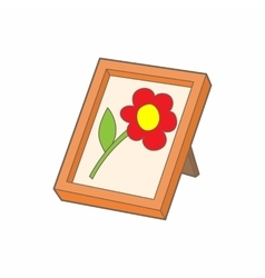 Picture frame with flower icon cartoon style vector